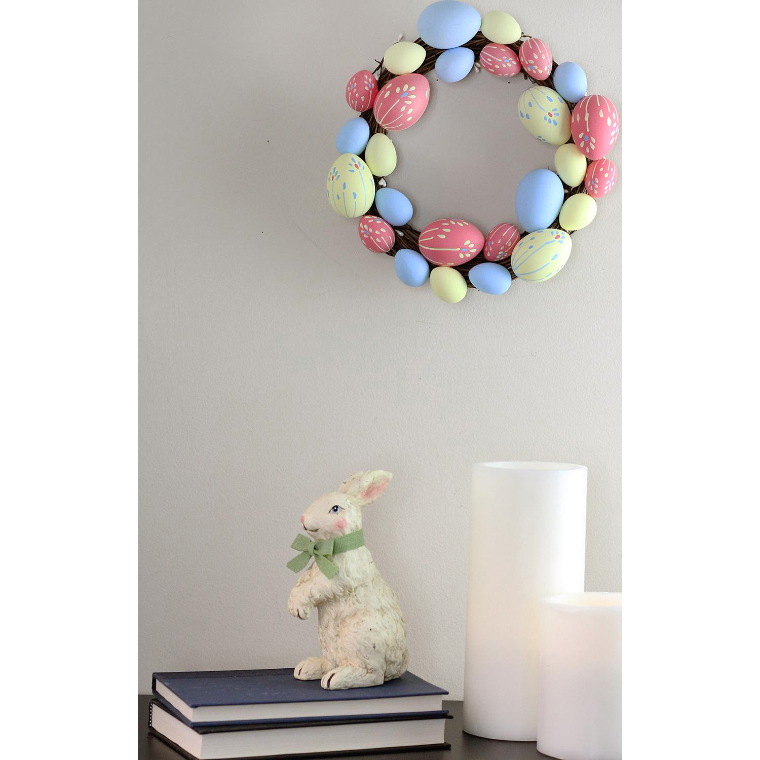 """Pink, Yellow & Blue Easter Egg 10"""" Wreath"""