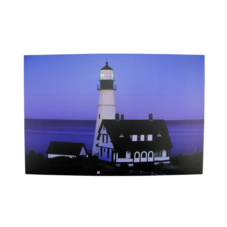 LED Light-Up Dusk Lighthouse Seaside Scene Canvas Wall Art