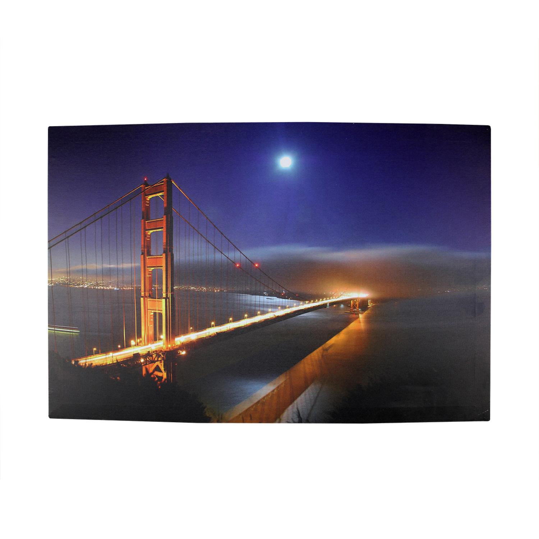 LED Light-Up Famous Foggy Golden Gate Bridge Canvas Wall Art