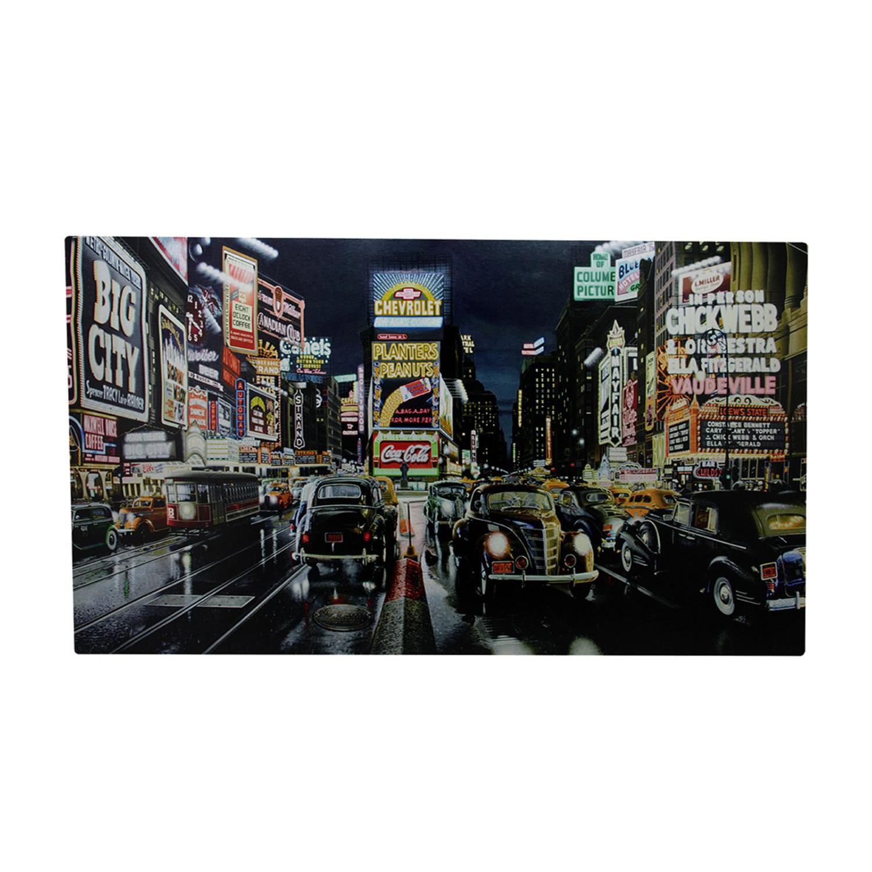 LED Light-Up Fiber Optic NYC Times Square Classic Cars Canvas Wall Art