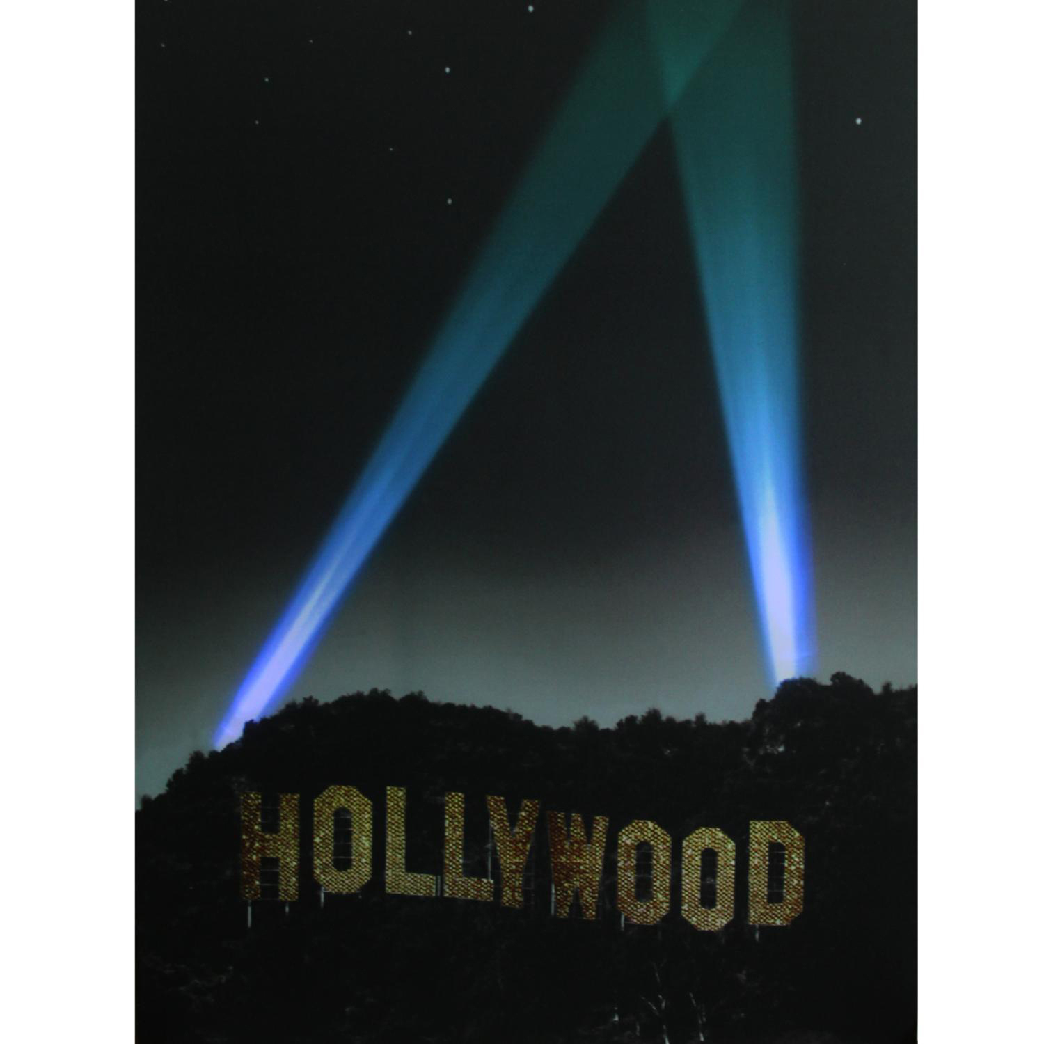 LED Light-Up Hollywood Sign with Spot Lights Canvas Wall Art