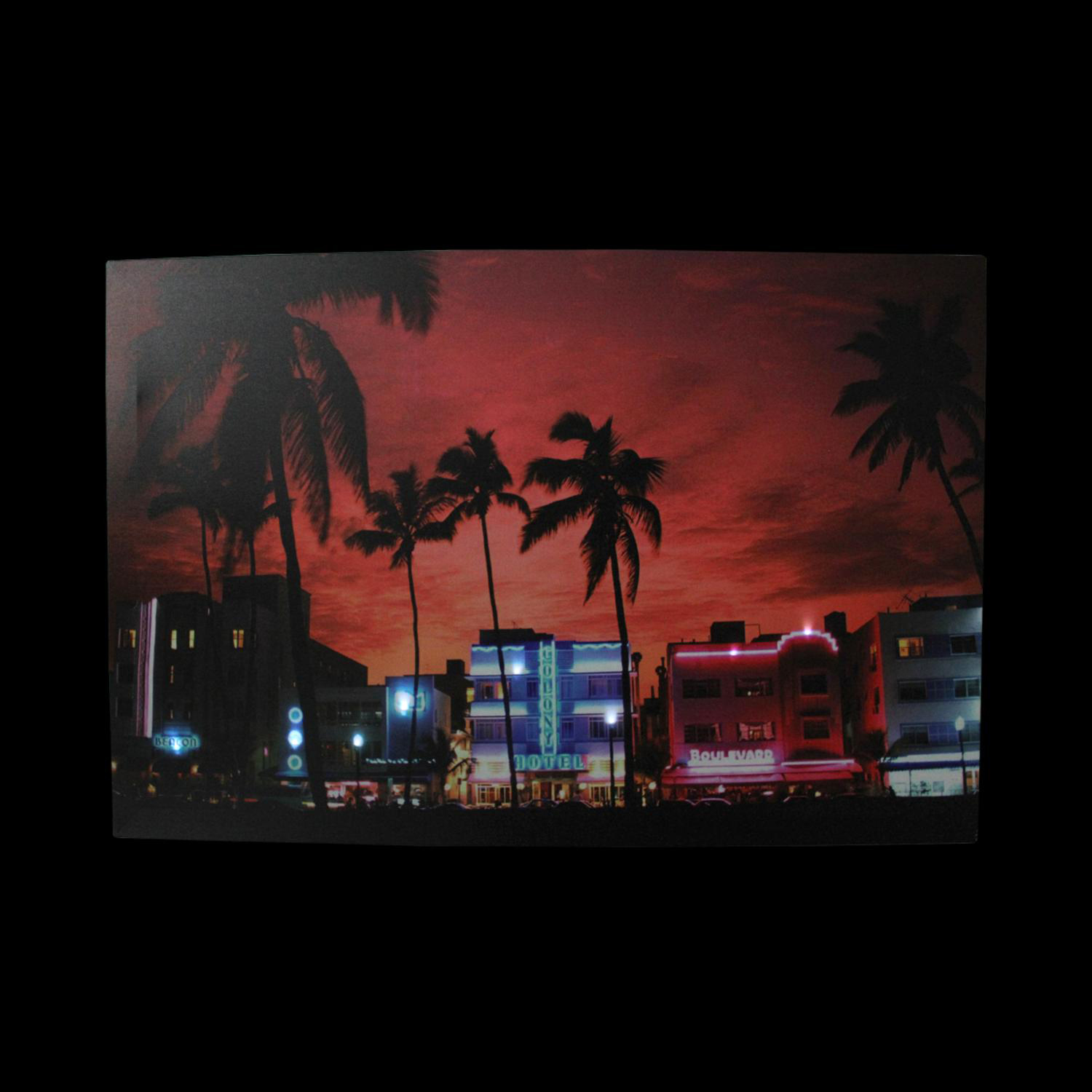 LED Light-Up Famous South Beach Miami Nightlife Scene Canvas Wall Art