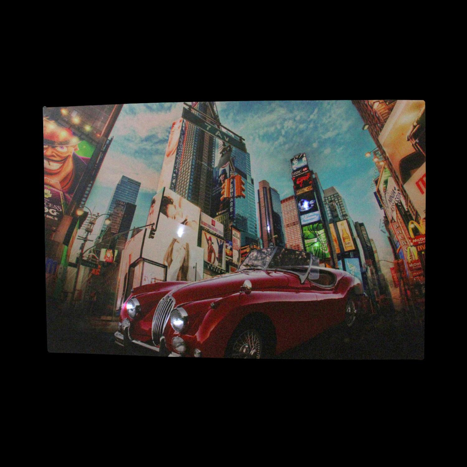 LED Light-Up NYC Times Square 7th Avenue Classic MG Car Canvas Wall Art
