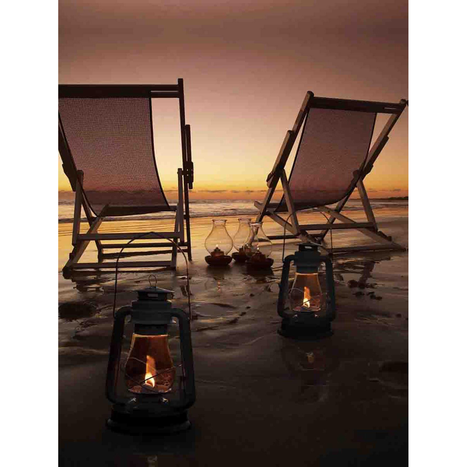 LED Light-Up Sunset Beach Relaxation with Lanterns Canvas Wall Art