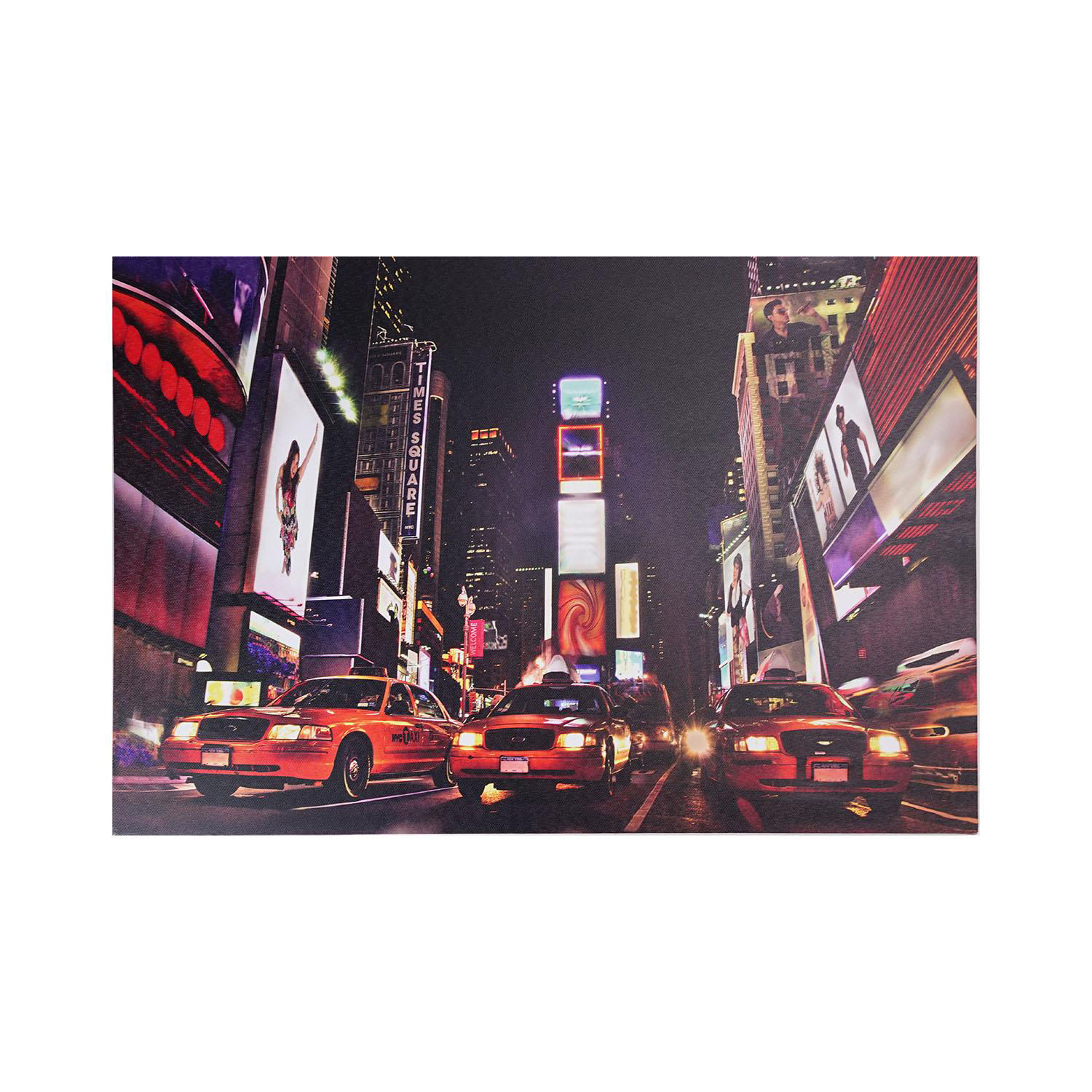 LED Light-Up NYC Times Square Broadway Taxi Cabs Canvas Wall Art