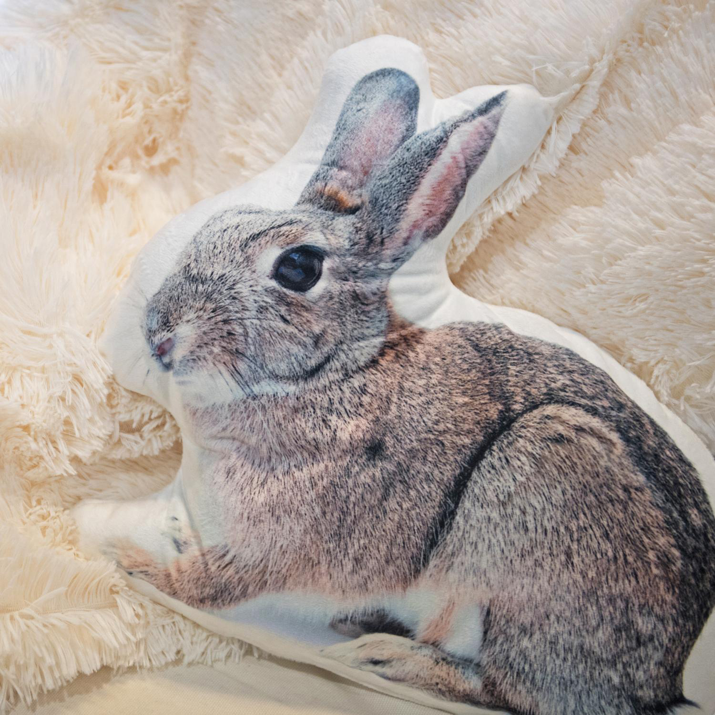 "14"" Charming Gray Bunny Rabbit Decorative Throw Pillow"