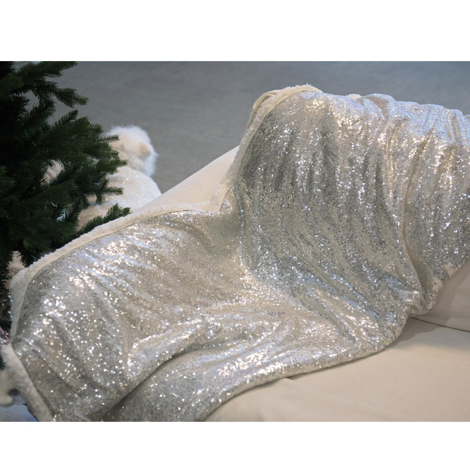 Winter's Silver Sequined Decorative Throw Blanket
