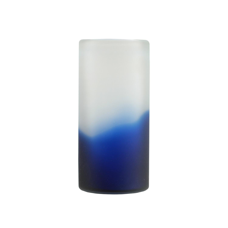 Zaffre Blue & White Smoke Cylindrical Frosted Glass Vase