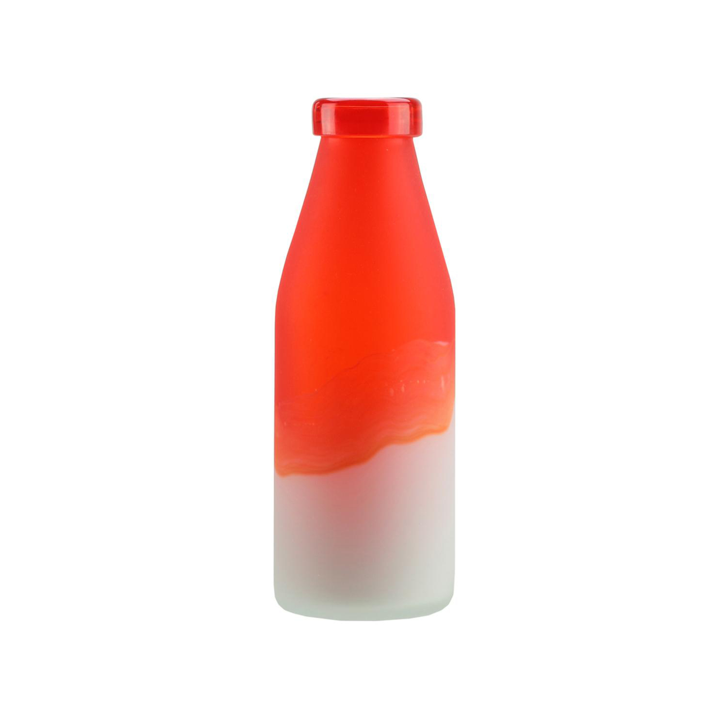 """10.25"""" Flame Orange & Frosted White Milk Bottle Style Hand Blown Glass Vase"""