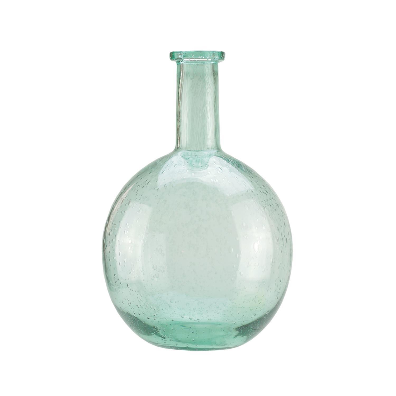 Light Blue Hand Blown Bubble Glass Vase