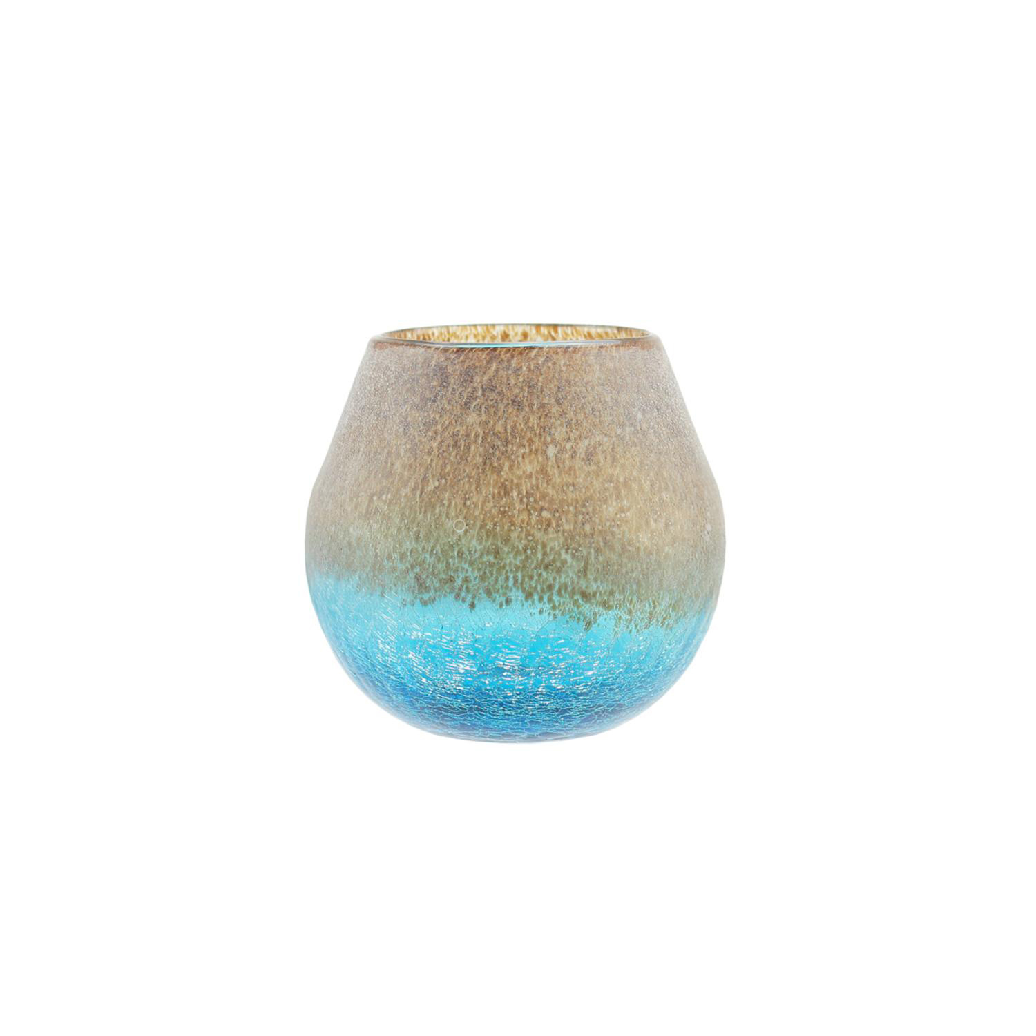 Azure Blue Crackled & Brown Frosted Hand Blown Decorative Glass Vase