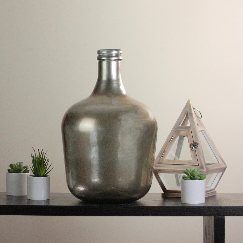 Urban Life Hand-Made Metallic Silver Spanish Glass Vase