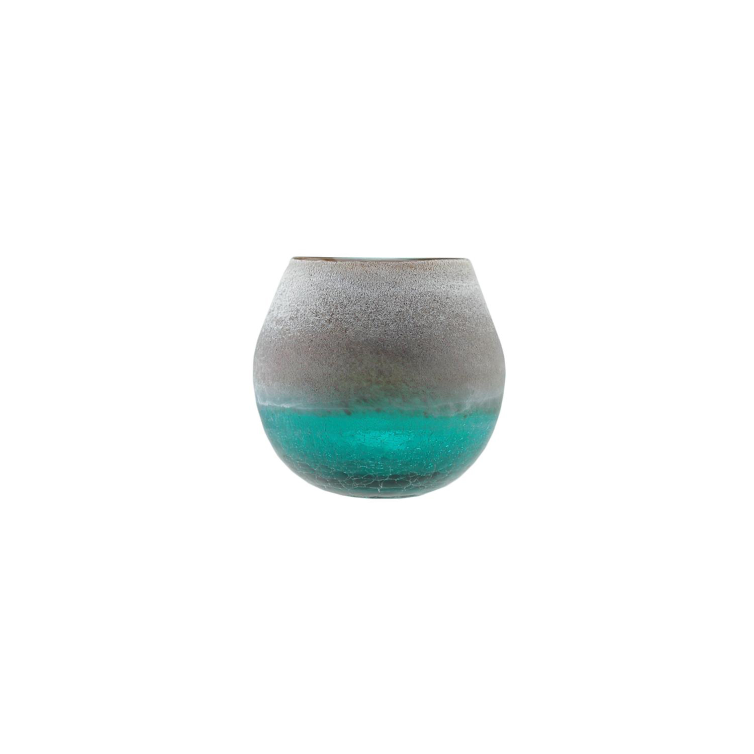 Teal Blue Crackled & Brown Frosted Hand Blown Decorative Glass Vase