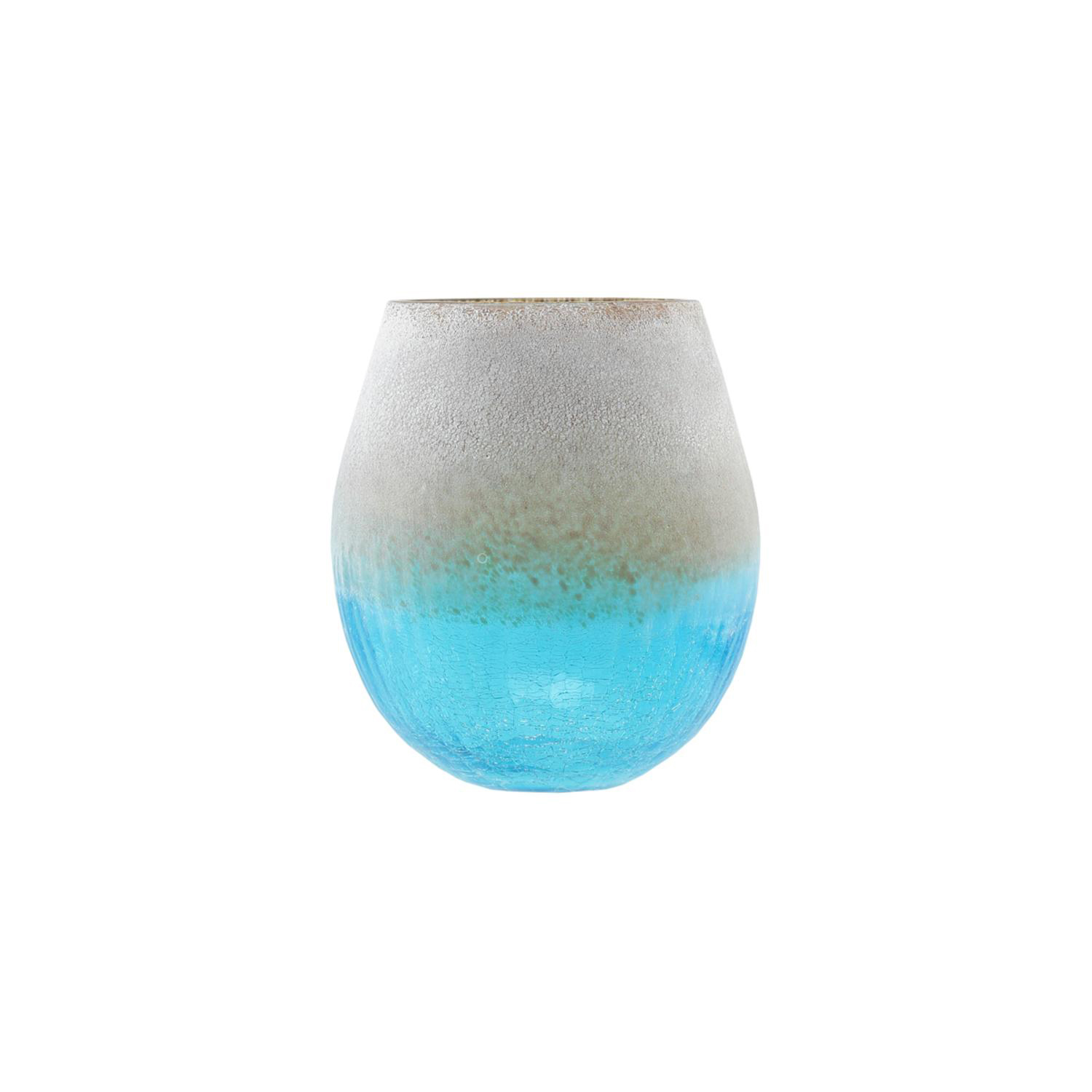 """8"""" Azure Blue Crackled & Brown Frosted Hand Blown Decorative Glass Vase"""