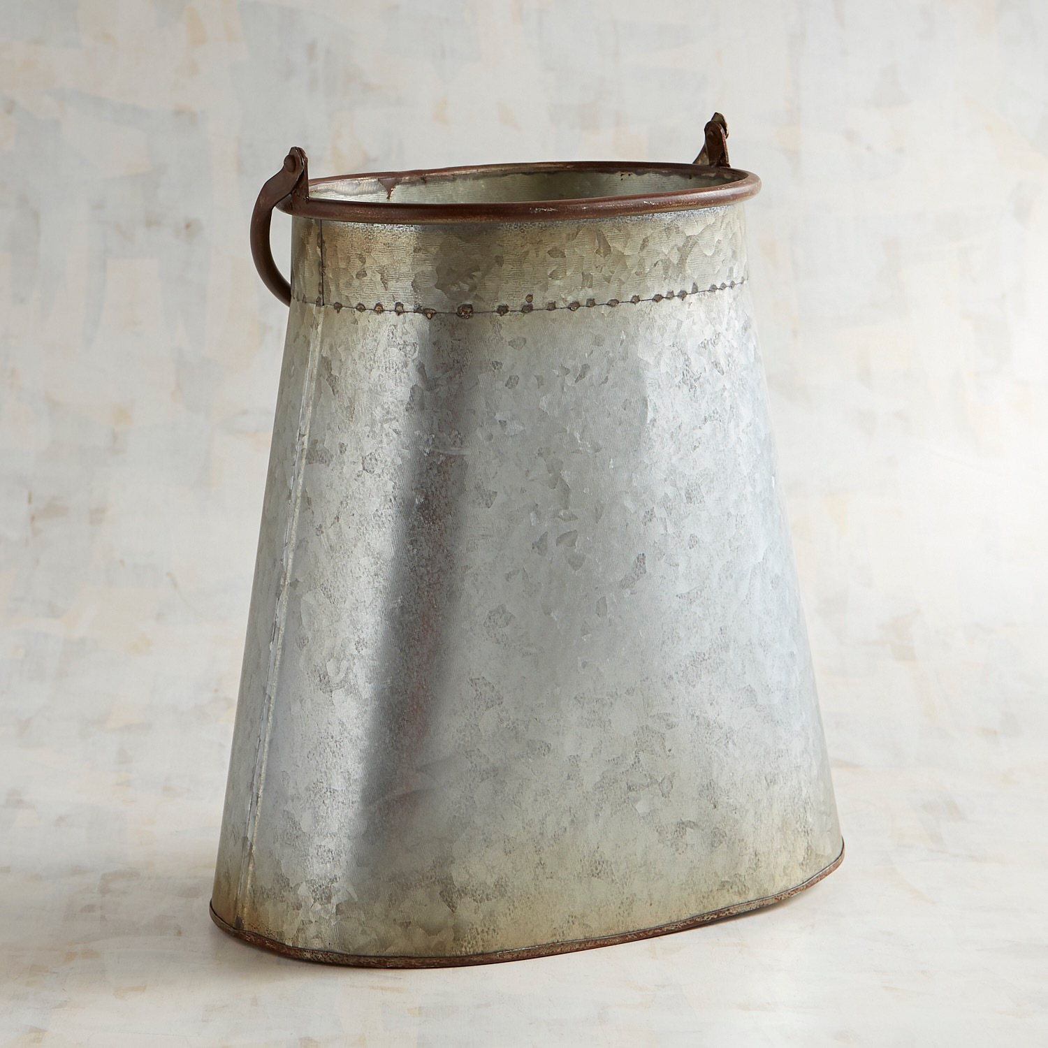 Galvanized Oval Vase with Handle
