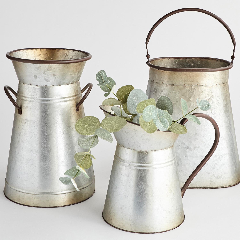 Galvanized Vase with 2 Handles