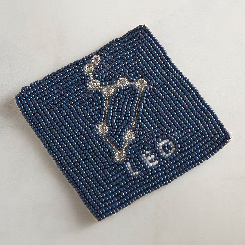 Leo Blue Beaded Coaster