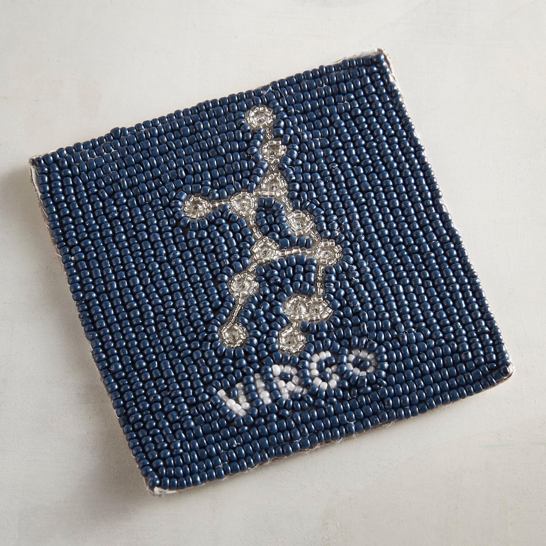 Virgo Blue Beaded Coaster