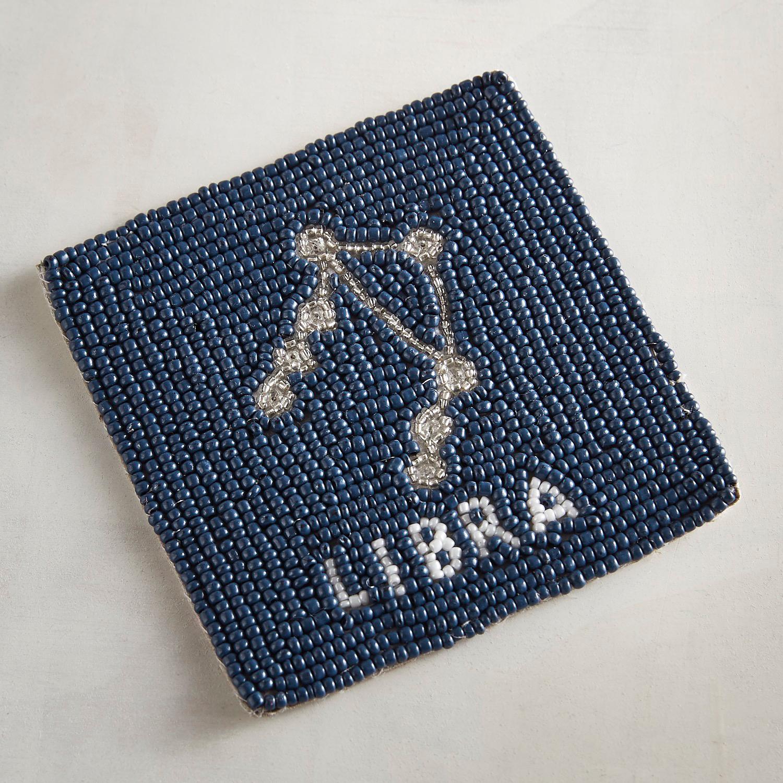 Libra Blue Beaded Coaster