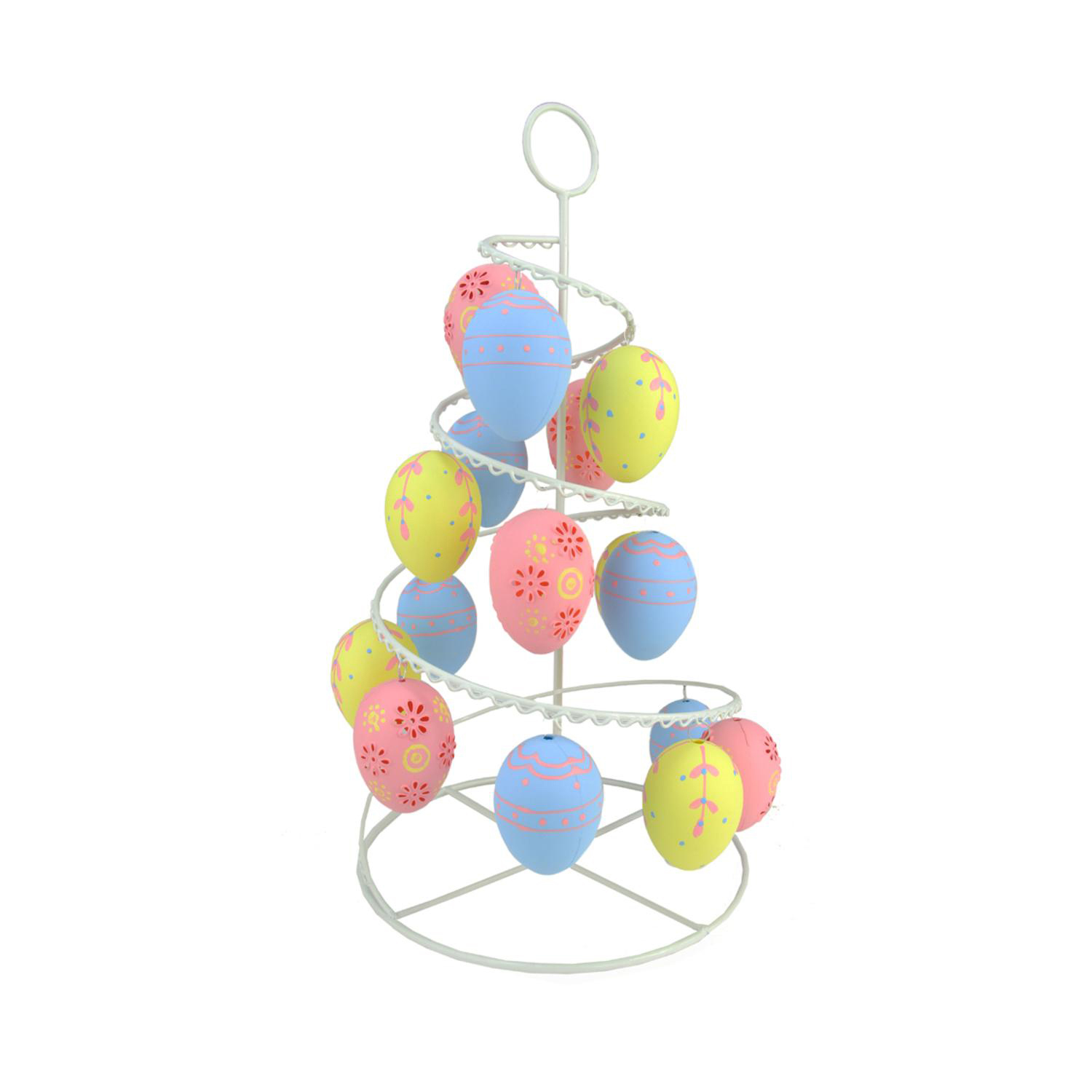 """14.25"""" Pastel Pink, Blue, & Yellow Floral Cut-Out Easter Egg Tree"""