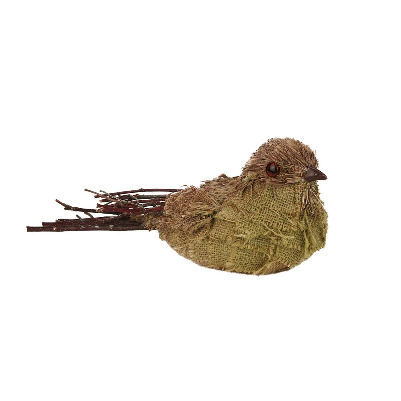 "10.5"" Rustic Burlap Right Facing Bird"