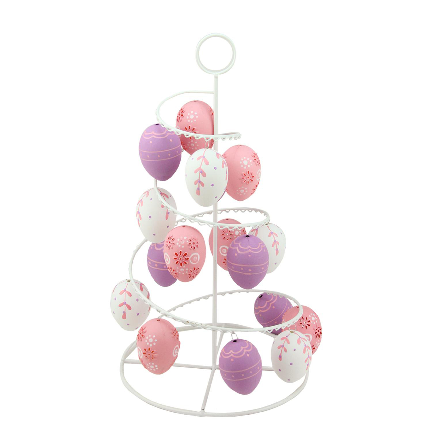 "14.25"" Pastel Pink, White & Purple Floral Cut-Out Easter Egg Tree"