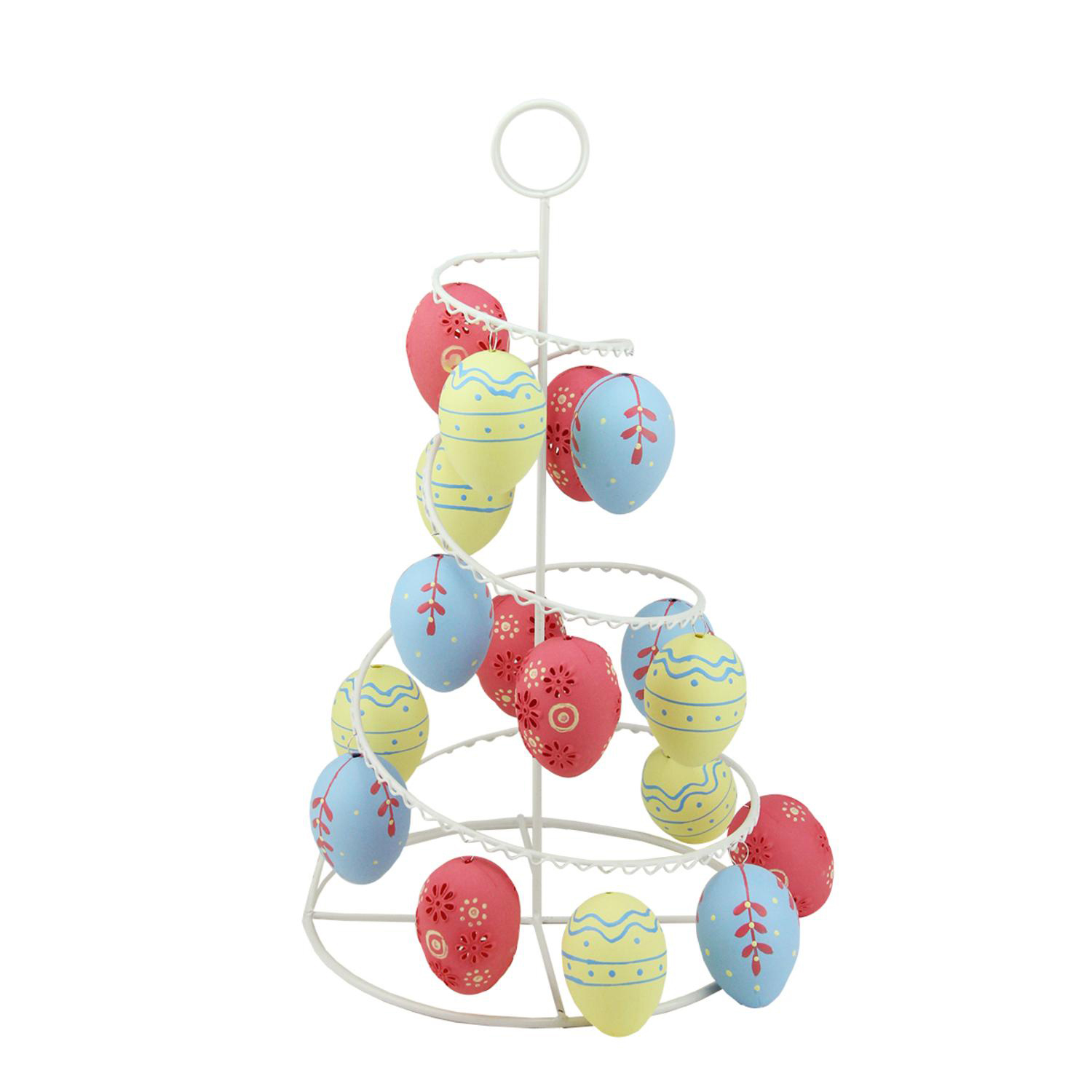 "14.25"" Pastel Yellow, Blue & Pink Floral Cut-Out Easter Egg Tree"
