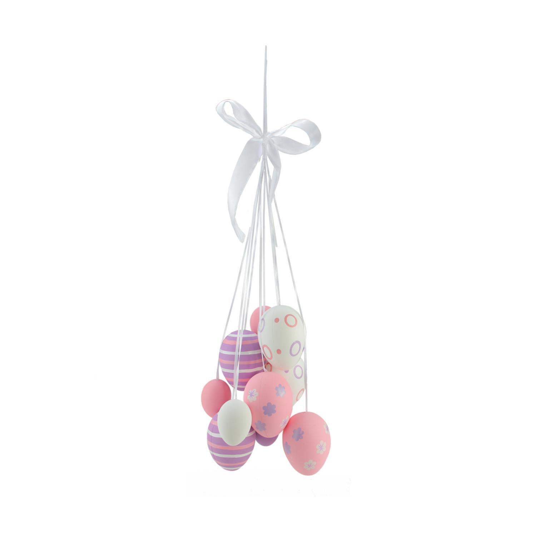 "17"" Pastel Pink, Purple & White Floral Striped Easter Egg Hanging Decoration"