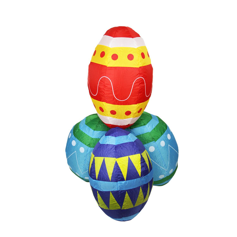 4' Inflatable Lighted Easter Eggs Stacks Yard Art