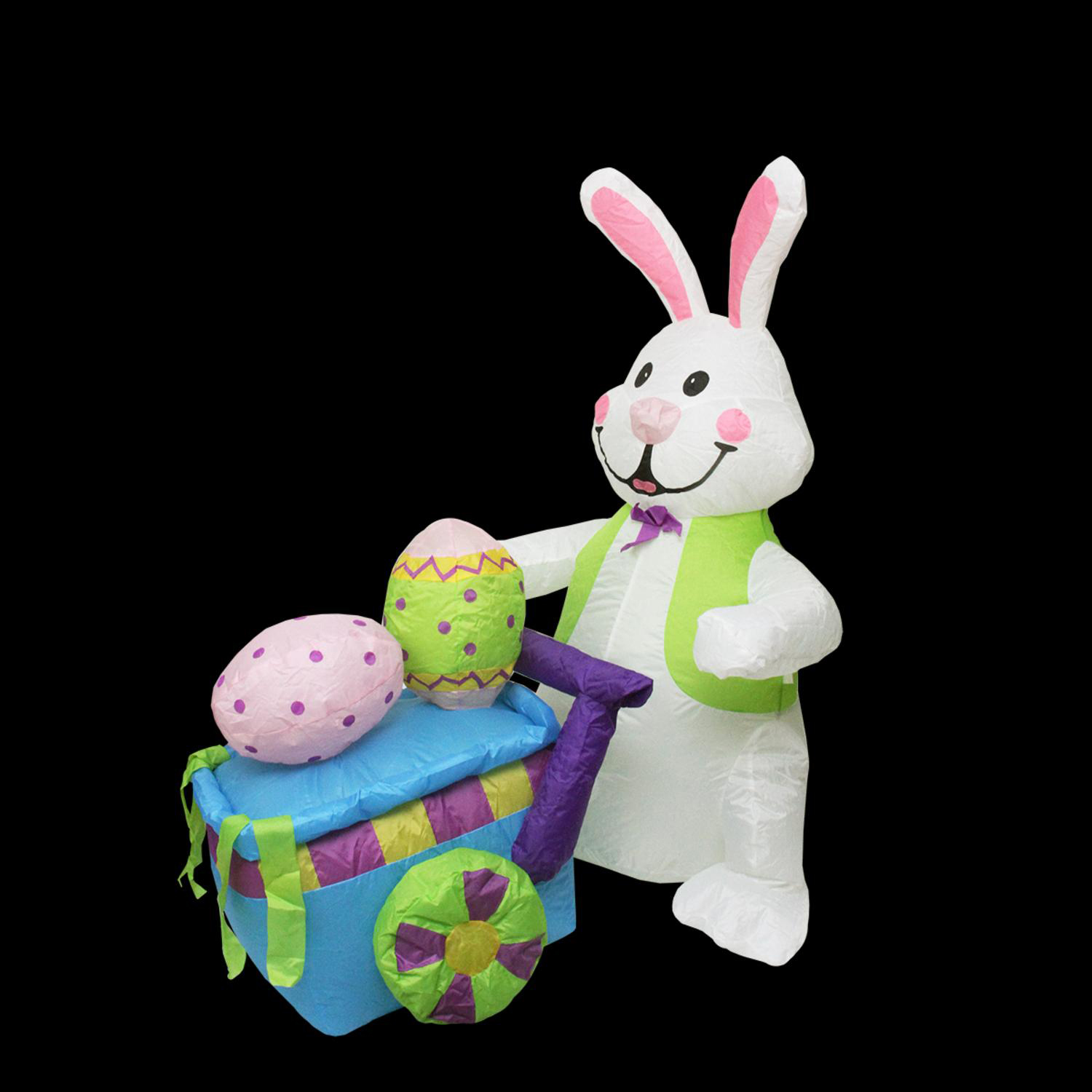 4' Inflatable Lighted Easter Bunny with Push Cart Yard Art
