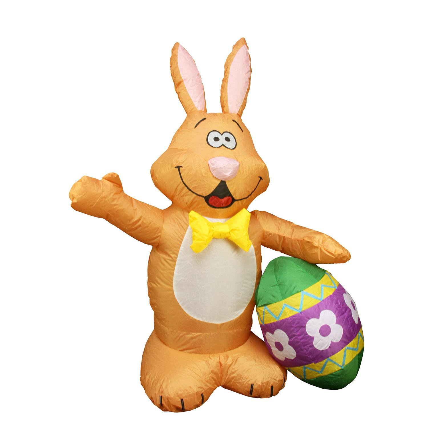 4' Inflatable Lighted Bunny with Easter Egg Yard Art