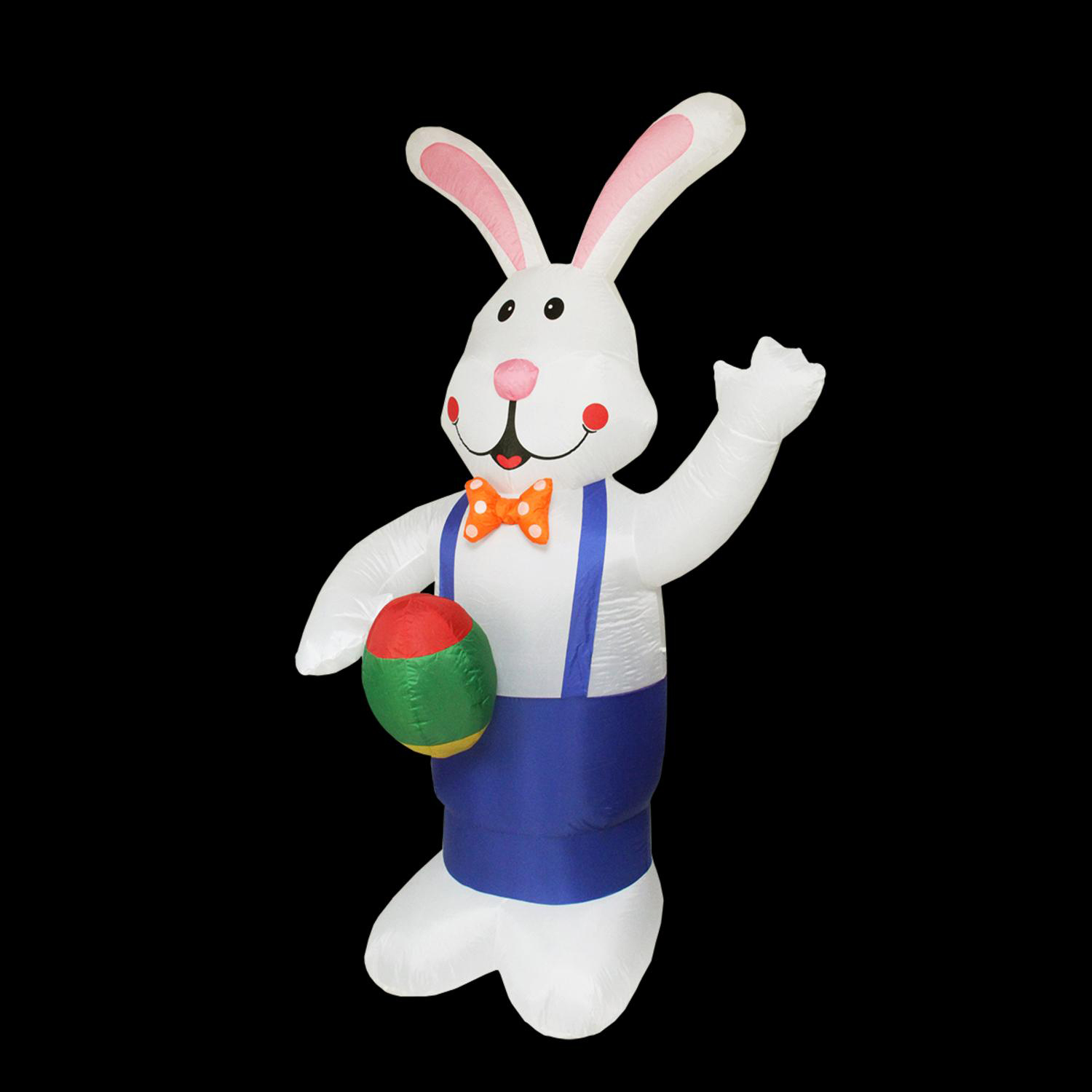 7' Inflatable Lighted Standing Eater Bunny with Eggs Yard Art