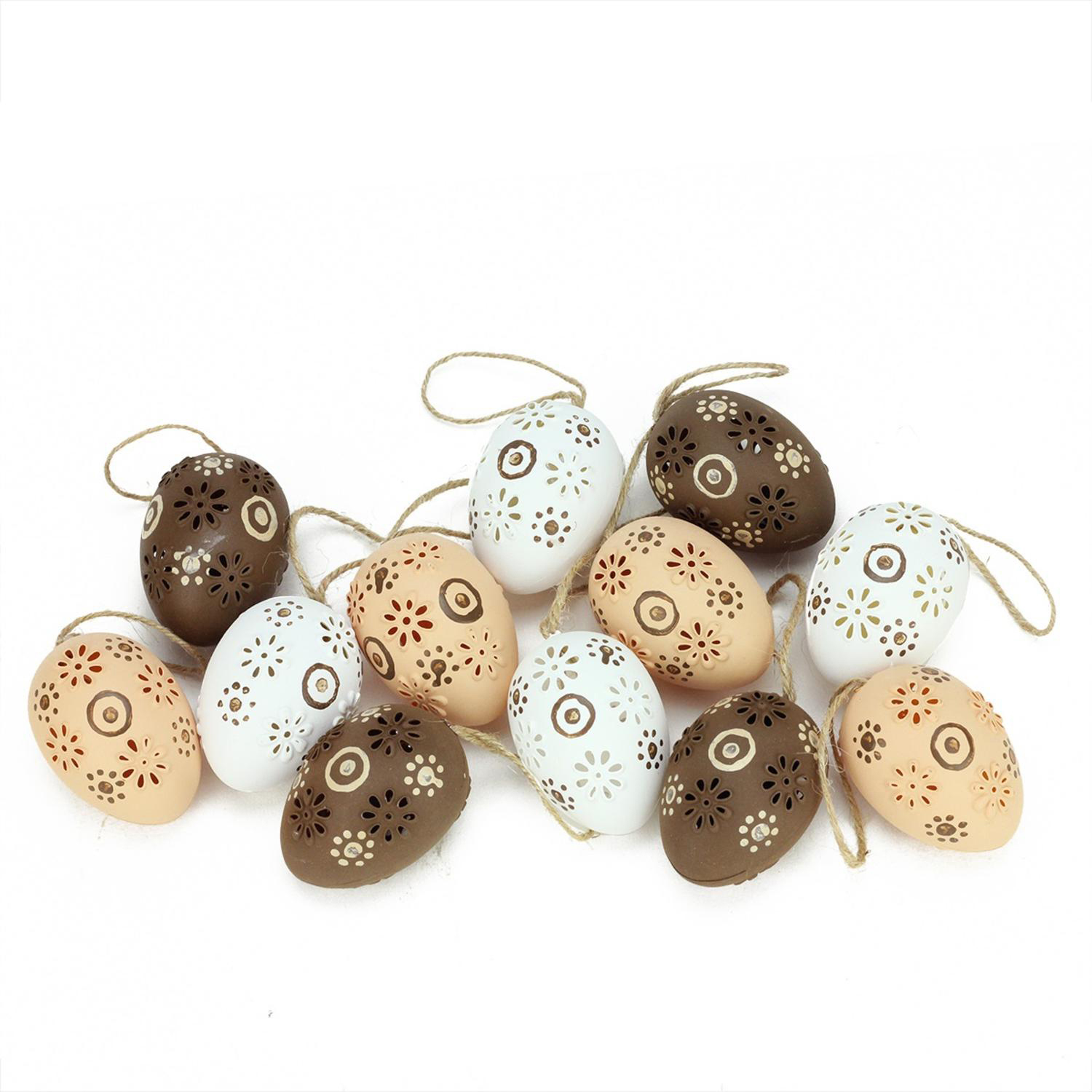 "2.25"" Natural Tone Floral Cut-Out Easter Egg Ornaments Set of 12"