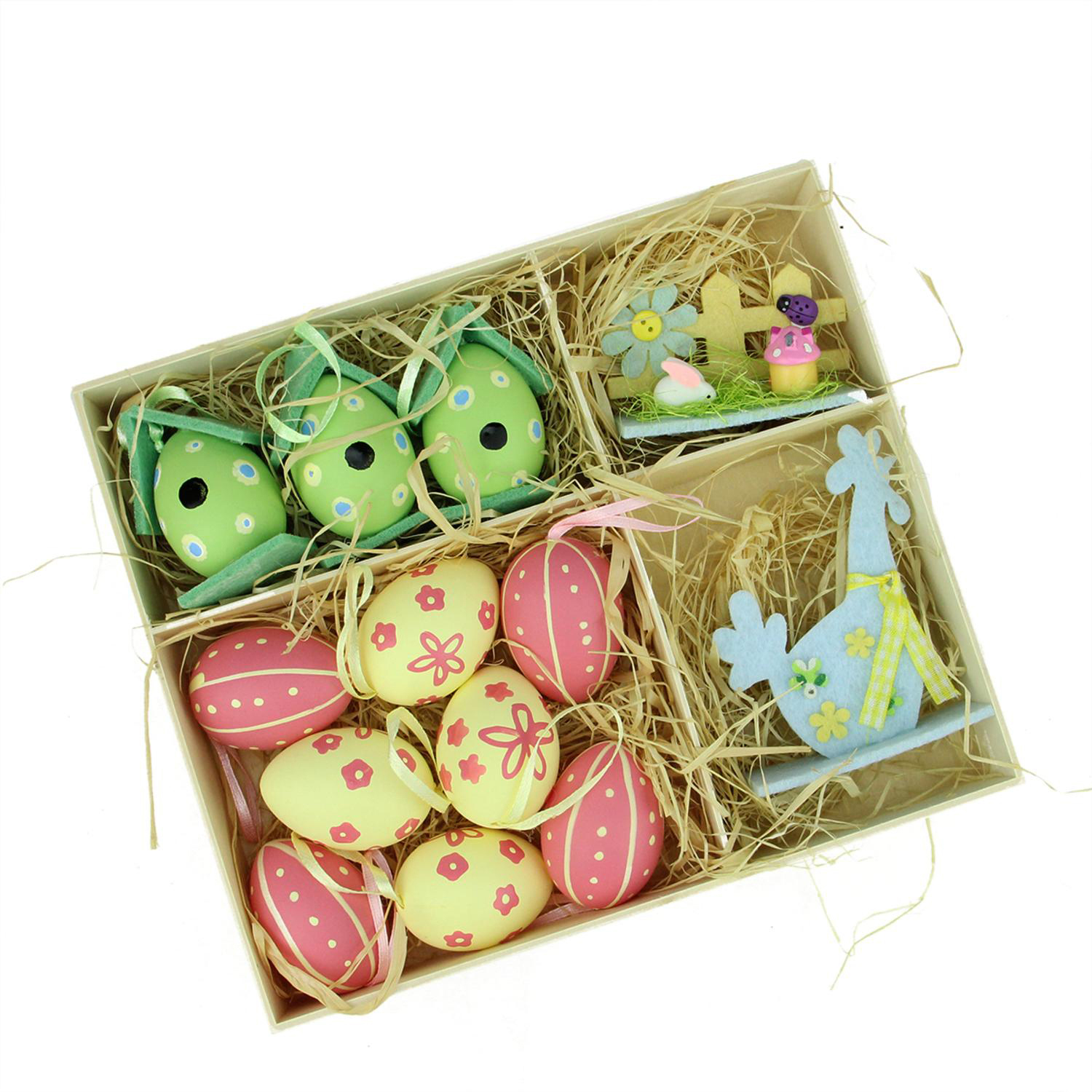 Pink, Blue, Green & Yellow Easter Egg Birdhouse & Rooster Decorations