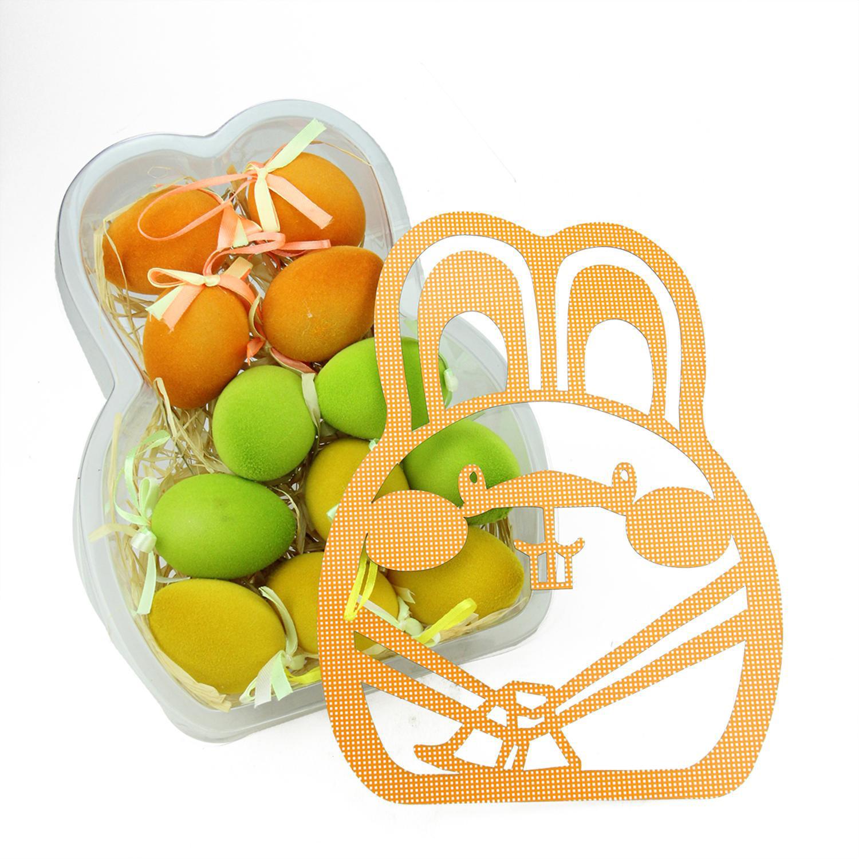 "2.5"" Orange, Green & Yellow Easter Egg Ornaments Set of 12"