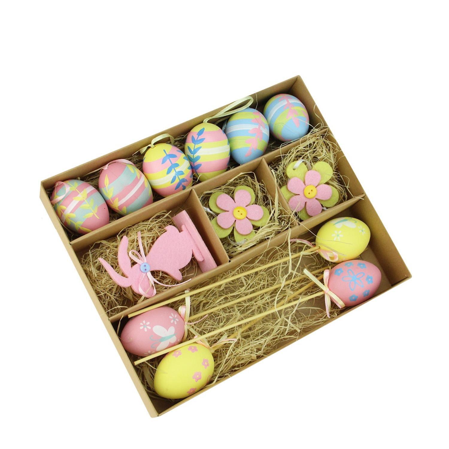 Pastel Pink, Blue & Yellow Easter Egg, Flower & Bunny Decorations