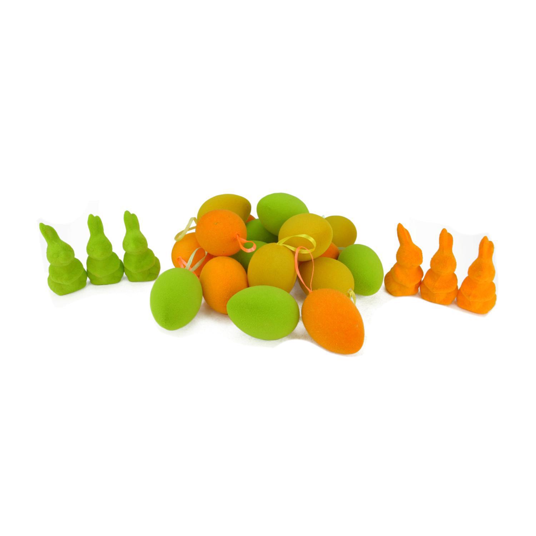"2.5"" Orange, Green & Yellow Easter Egg Ornaments & Bunny Figures Set of 24"