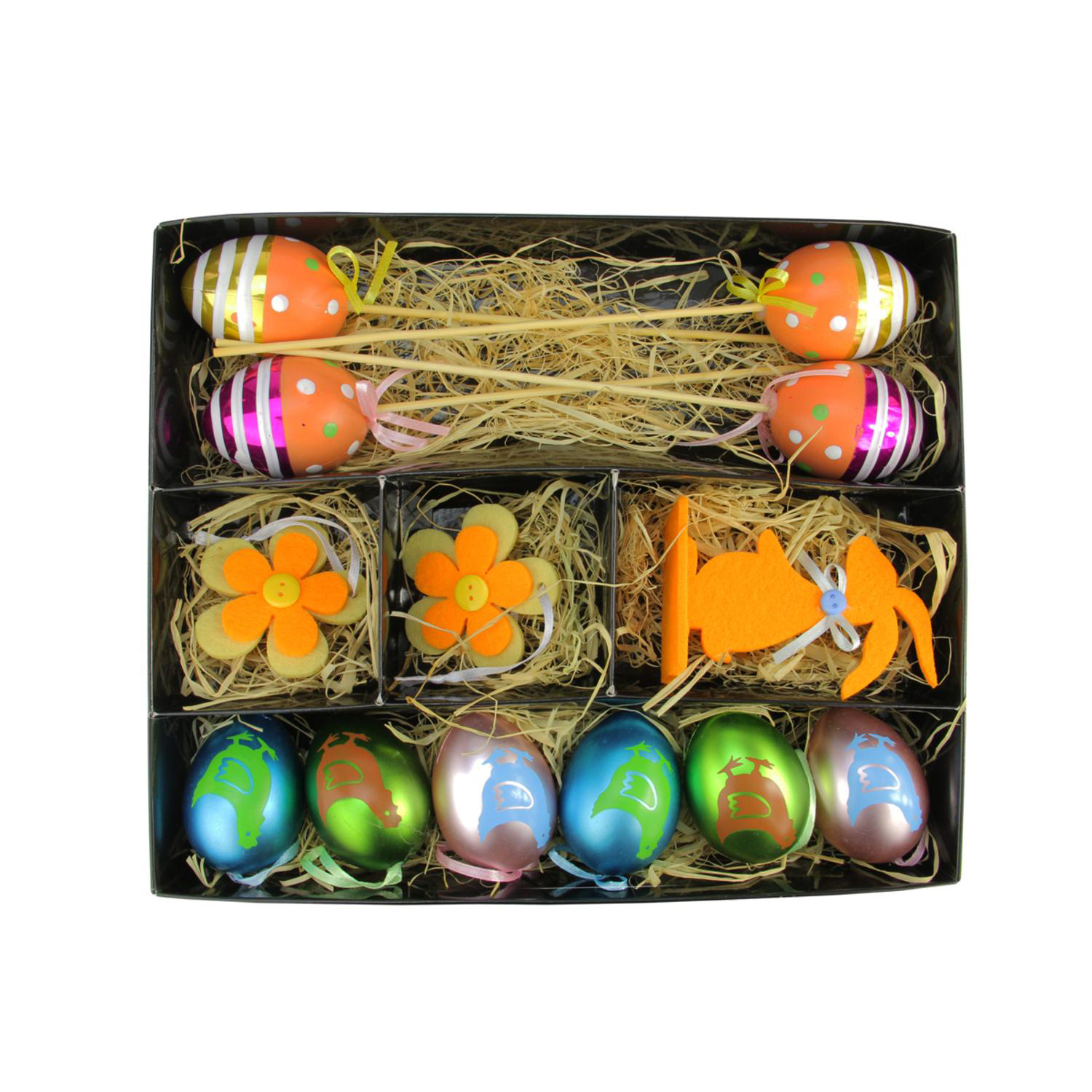 Multicolored Easter Egg, Flower & Bunny Decorations Set of 13