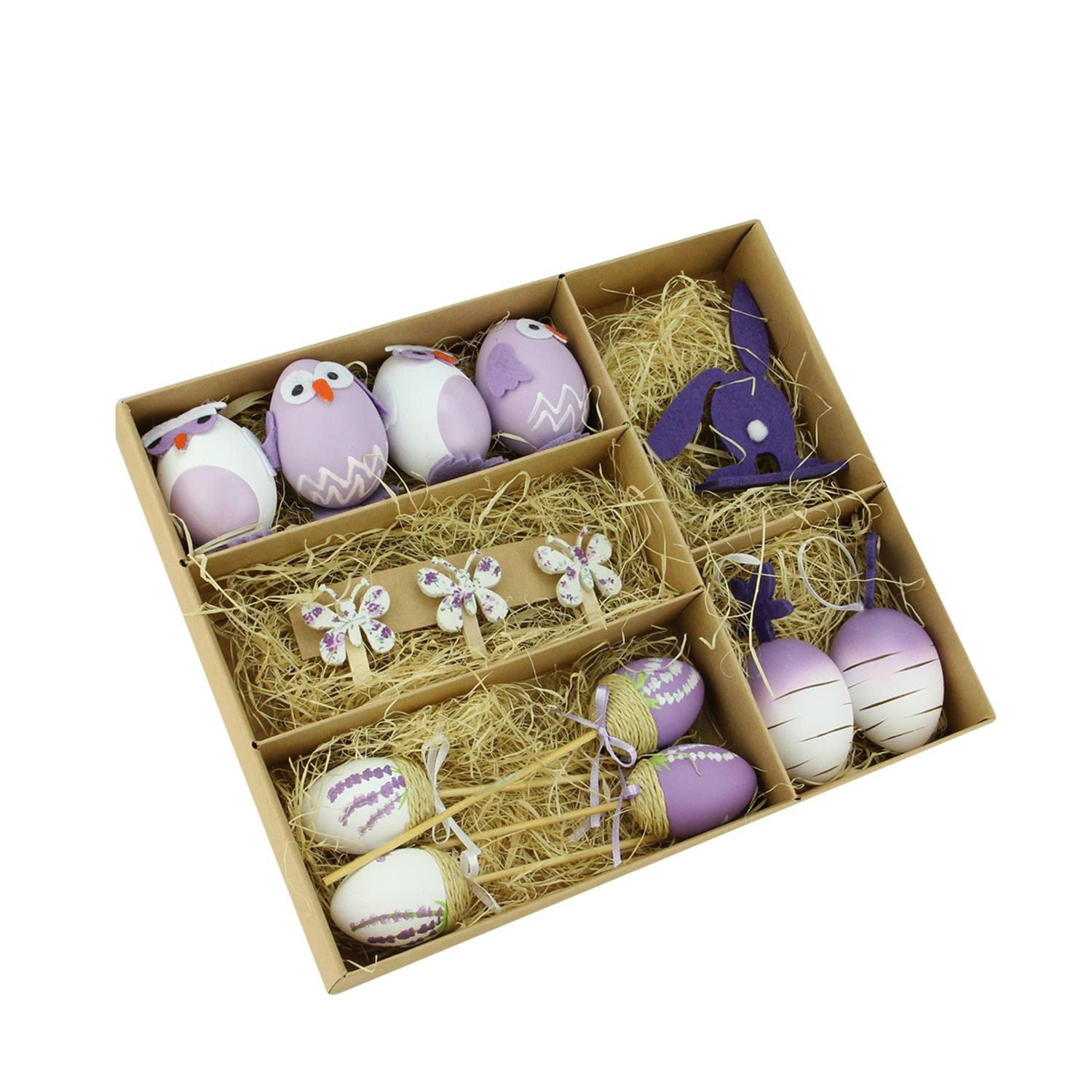 Purple & White Easter Egg, Chicken & Bunny Decorations Set of 14