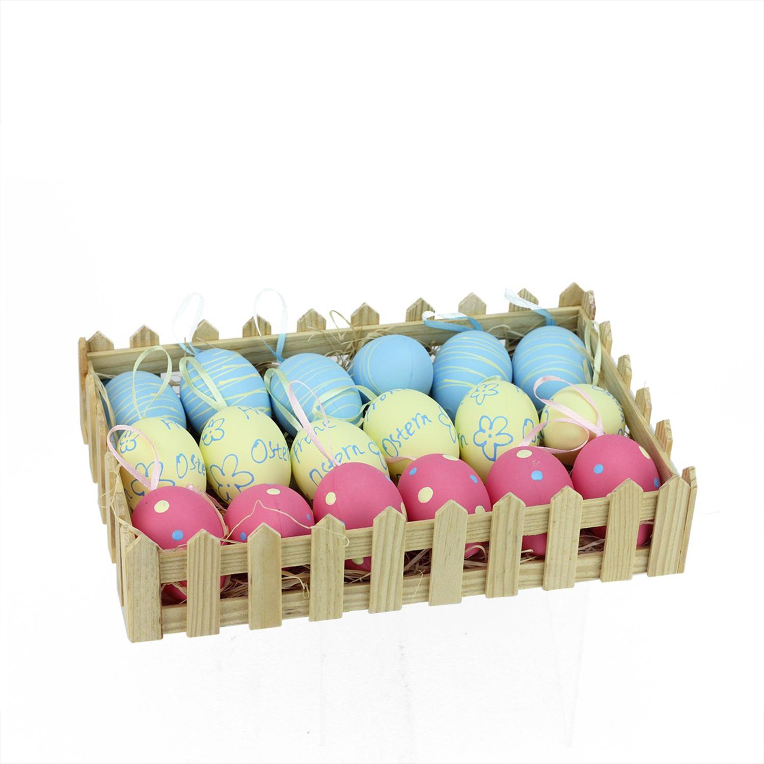 """2.25"""" Pastel Blue, Yellow & Pink Easter Egg Ornaments in Basket Set of 18"""