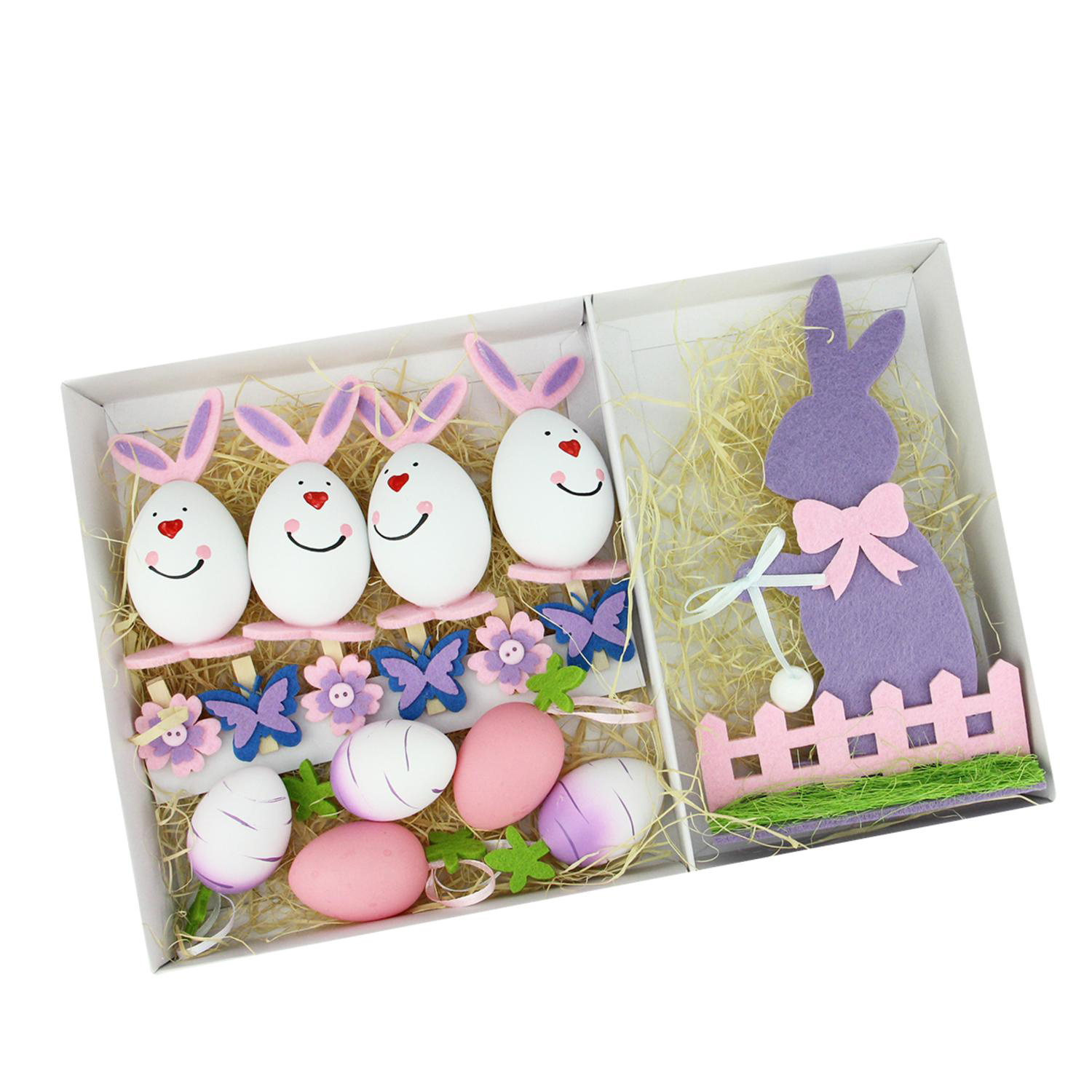 Pink, Purple & White Easter Egg, Flower & Bunny Decorations Set of 16