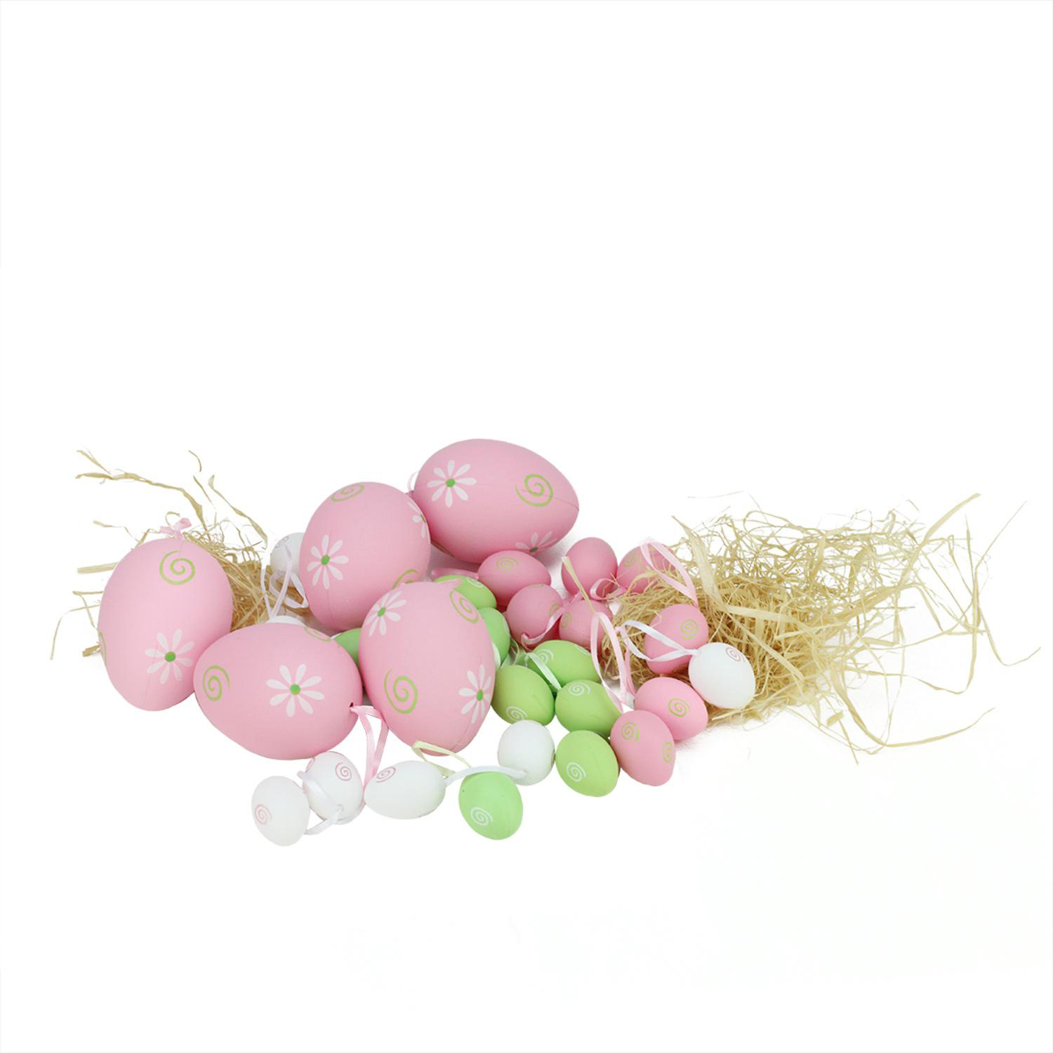 Pastel Pink, Green & White Painted Floral Easter Egg Ornaments Set of 29