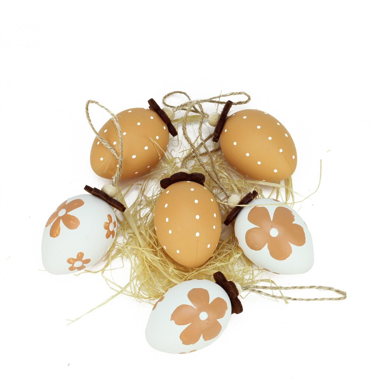 "2.25"" Natural Tone Decorative Painted Design Easter Egg Ornaments Set of 6"