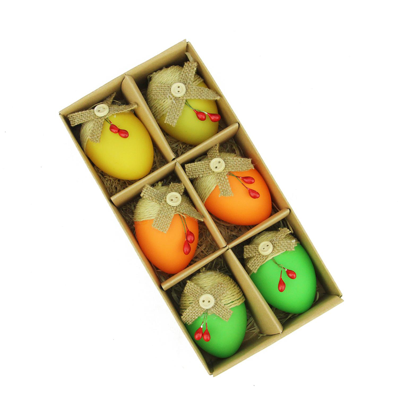 "2.25"" Bright Green, Orange & Yellow Decorative Jute Burlap Easter Egg Ornaments Set of 6"