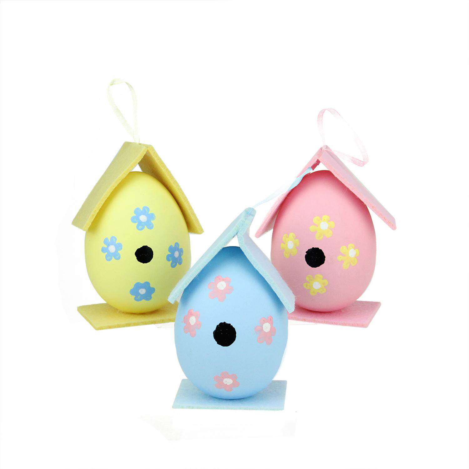 """4.25"""" Pink, Yellow & Blue Painted Easter Egg Birdhouse Ornaments Set of 3"""