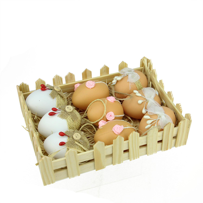 "2.25"" White & Natural Colored Jute Burlap Easter Egg Ornaments Set of 9"