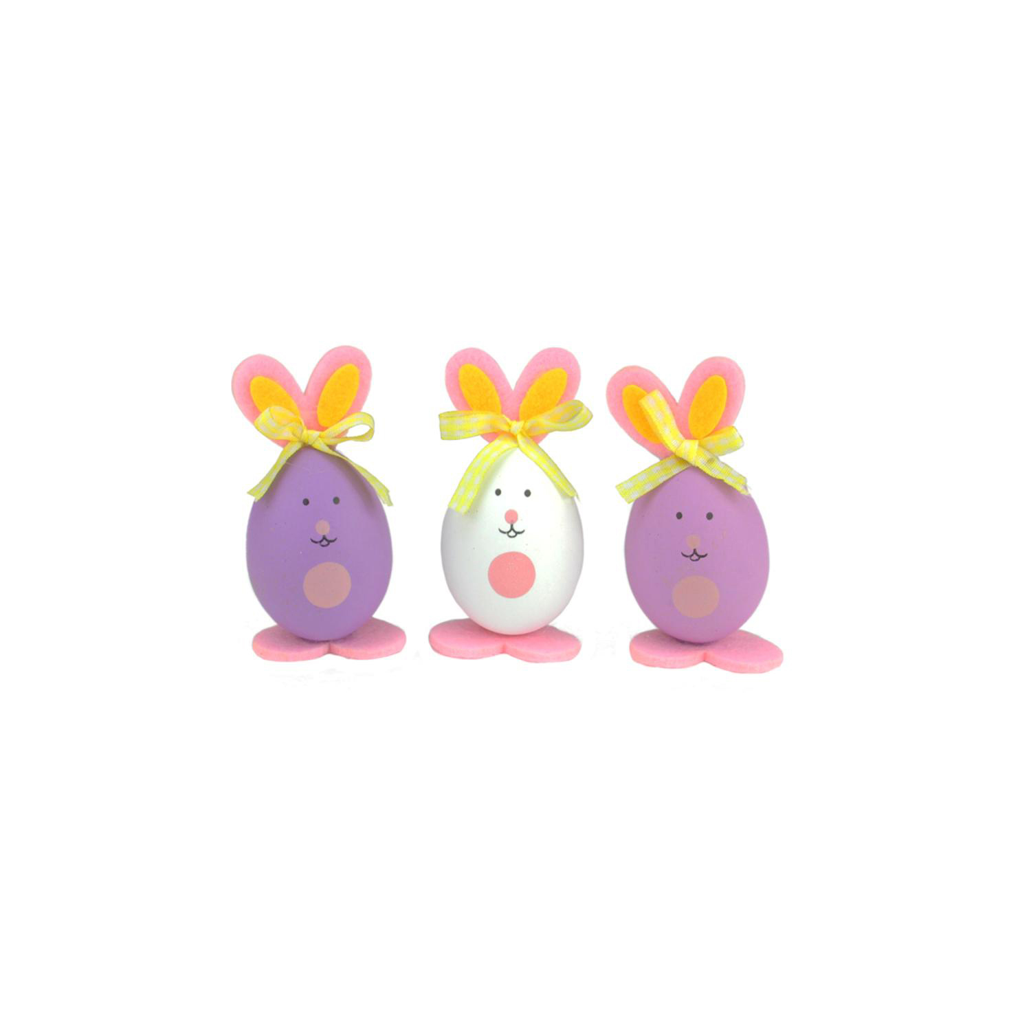 """3.5"""" Pink, Purple & White Striped Easter Egg Bunny Figure Decorations Set of 3"""