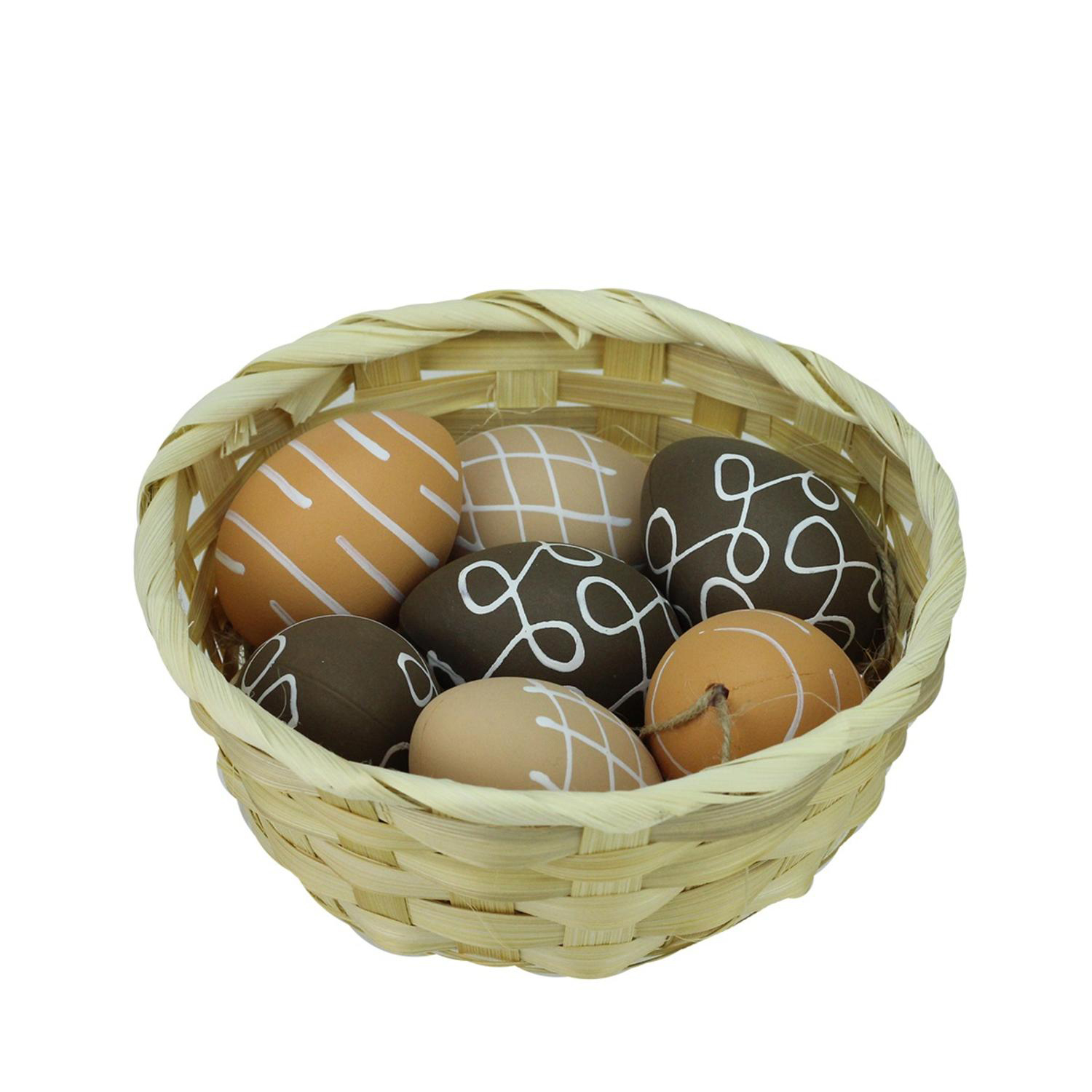 "2.25"" Natural Tone Painted Easter Egg Ornaments Set of 7"