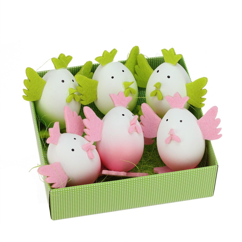 "3"" Pink & Green Felt Easter Chicken Decorations Set of 6"