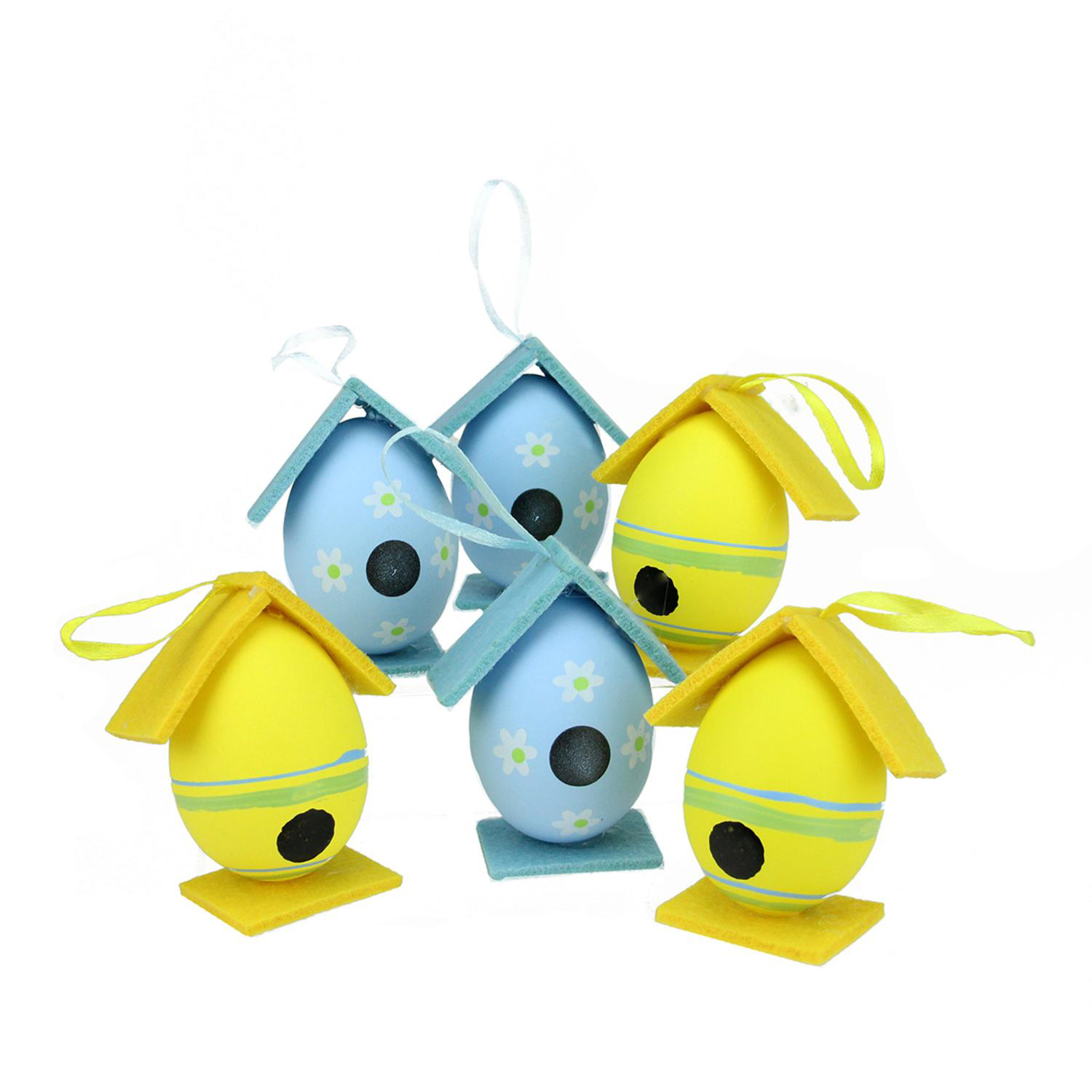 "3"" Yellow & Blue Decorative Painted Easter Egg Birdhouse Ornaments Set of 6"